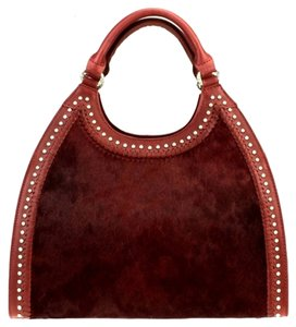 Montana West Genuine Leather Hair-on-hide Satchel in Burgundy