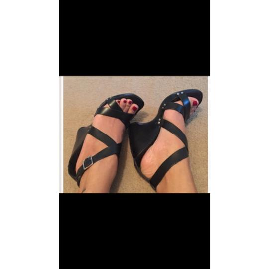 David Aaron Leather Wedge Heels Blk Blk Platforms Image 1