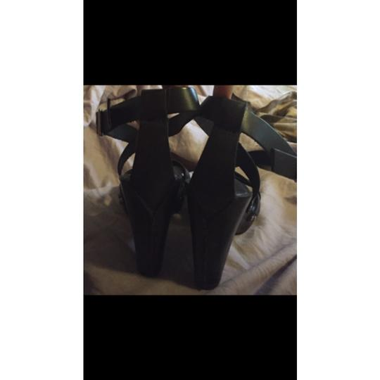 David Aaron Leather Wedge Heels Blk Blk Platforms Image 2