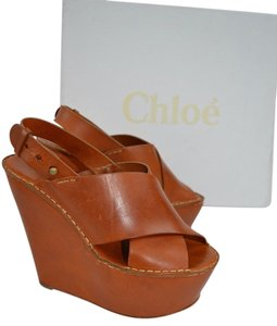 Chloé Chloe Leather Sandals Open Toe Tan Wedges