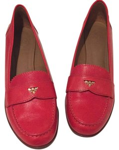 Tory Burch Gold Coins In Slits. Red Flats