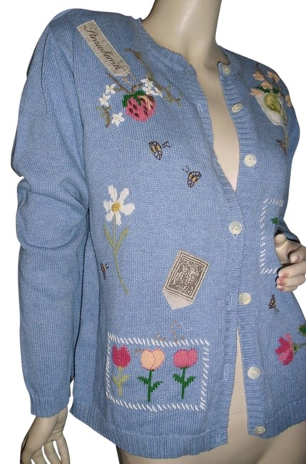 Item - Blue Hand-embroidered Apples Seeds Sweater @ Fashionista Style Boutique Cardigan Size 8 (M)