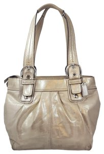 Coach Shimmer Shinny Tote in Champagne & Lilac Lining