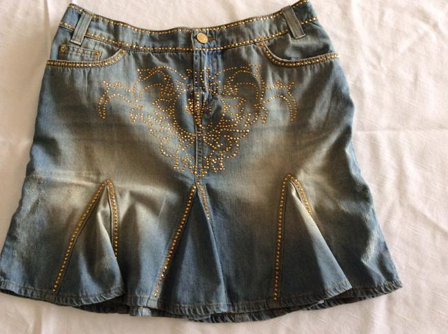 Versace Mini Skirt Blue jeans with gold beads Image 1