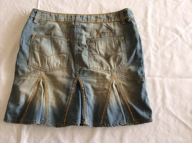 Versace Mini Skirt Blue jeans with gold beads