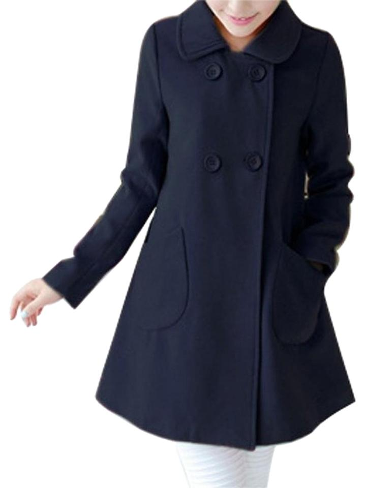 31372e223b0 Purple Yellow Navy Ose Red Z-show Women s A-line Double Breasted Wool Winter  Coat