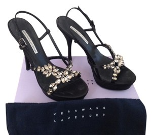 Vera Wang Rhinestone Embellished Silk Black Sandals