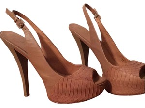 L.A.M.B. Leather Nude Platforms