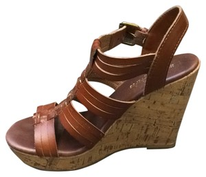 Mossimo Supply Co. Wedge Strappy Open Toe Sandal Brown Wedges