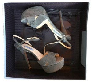 Prada Calzature Donna Grey Suede Ankle Strap Open Toe Pump Platforms