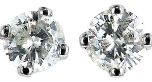 ABC Jewelry Round diamond studs earrings 1/5 ct .21 1/4 Solitaire White Gold 100% USA CO