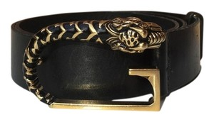 Gucci GUCCI Tiger Head Black Leather G Belt 75/30 Small S Retro RARE! Amazing !