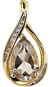 ABC Jewelry Diamond Brown QUARTZ Yellow gold SLIDE pendant 1/10 ct .10 100% USA CO