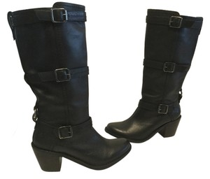 Frye 3 & Cowboy Heels Lining Black all leather straps and buckles tall Boots