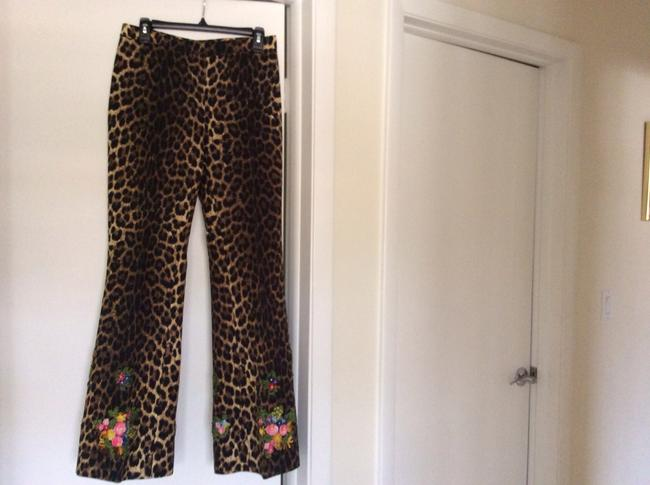 Moschino Wide Leg Pants Animal print with hand attach flowers