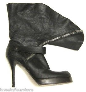 Rick Owens Distressed Leather Fold Over Zipper Heel Black Boots