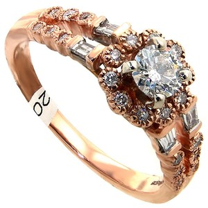 ABC Jewelry 3/4 Ct Split Shank Rose Gold Round Baguettes Diamond Halo Head 100% Usa Company