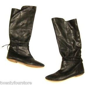 Loeffler Randall Otk Over The Knee Leather W Tie B Black Boots
