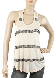 Haute Hippie Crystal Studded Racer-back Top Beige, Black, Rose Pink