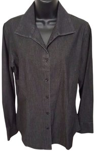 Chico's Denim Shirt Tencel Button Down Shirt Black