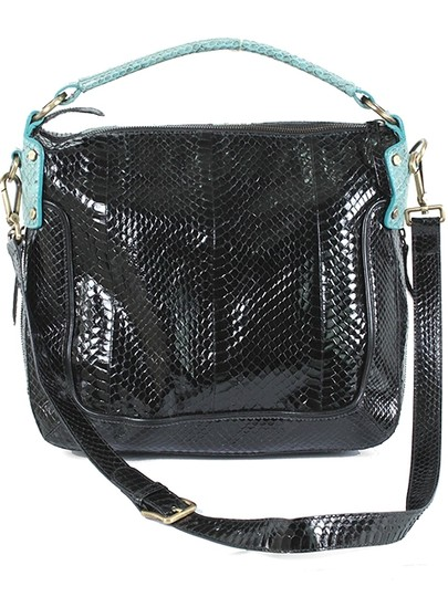 Derek Lam Snakeskin Leather Patent Leather Shoulder Bag