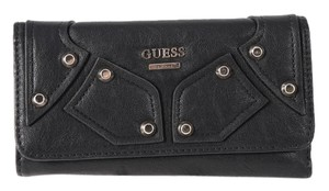 Guess Guess Royal Rocker Black Leather Studded TriFold Wallet
