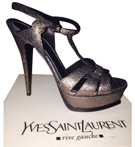 Saint Laurent Dark Grey Metallic Platforms