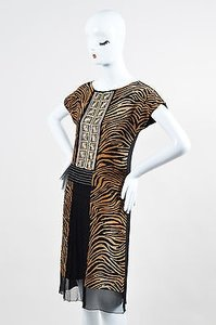 Alberta Ferretti short dress Multi-Color Black Brown Tiger Print Pleat Bead Sl 2 on Tradesy