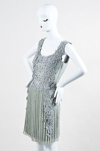 Alberta Ferretti short dress Gray Silk on Tradesy