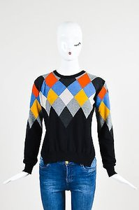 Stella McCartney Black Multi Wool Cashmere Argyle Sweater
