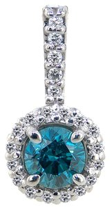 Diamond Pendant Blue & White Diamonds .70TCW H/Blue Si2 14k WG Made In USA