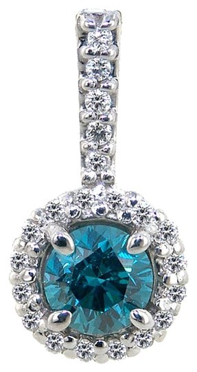 Other Diamond Pendant Blue & White Diamonds .70TCW H/Blue Si2 14k WG Made In USA