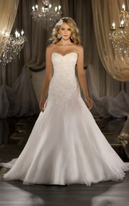 Martina Liana Ivory and Peony Silk Organza 411 Wedding Dress Size 6 (S)