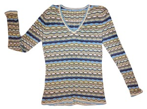 Missoni Navy Green Knit Short Sleeve Sweater Top Multicolor