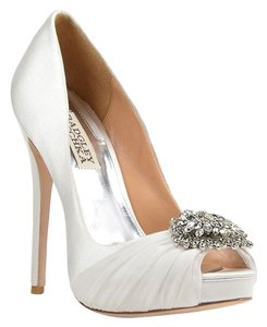 Badgley Mischka Pettal Satin White Pumps