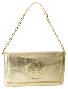 Tory Burch Gold Hardware Chain Leather Platinum (silver/gold tone) Clutch