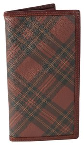 Polo Ralph Lauren *Polo Ralph Lauren Canvas Leather Slim Red Plaid Envelope Wallet