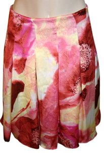 New York & Company Pleated Floral Satin Skirt Pink, yellow
