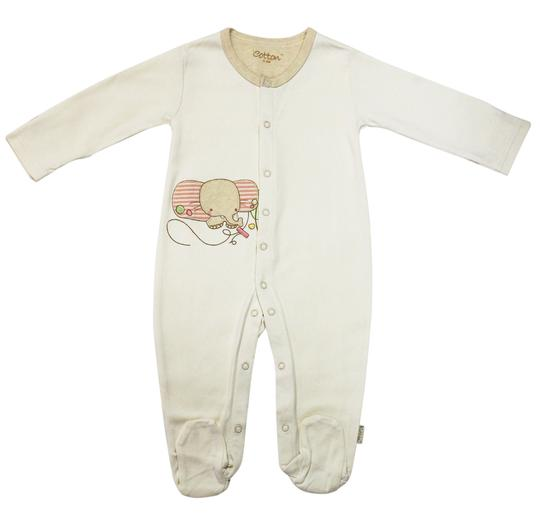 Eotton Certified Organic Cotton Beige Baby Romper - xSmall (0-3 Months)