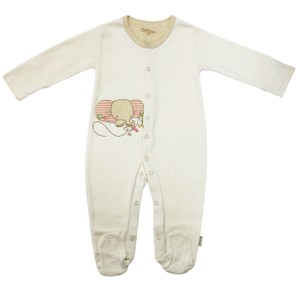 Eotton Certified Organic Cotton Beige Baby Romper - Medium (6-9 Months)