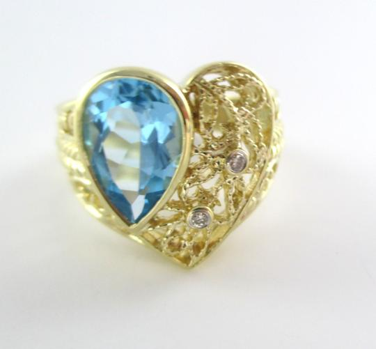 Other 14K SOLID YELLOW GOLD RING 7.1 GRAMS PEAR SHAPE BLUE TOPAZ 2 DIAMOND HEART BAND