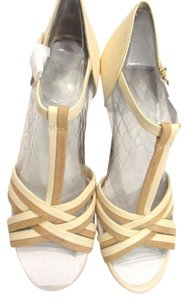 Jessica Simpson 2 Tone Leather New Open Toe BEIGE Sandals