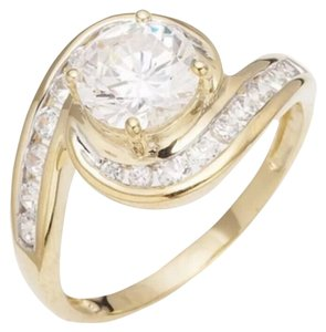 5CT Yellow Gold Filled & White Sapphire Cocktail Ring Sz 6