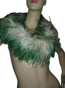 Genuine 100% Mongolian curly fur green & off white shrug, long scarf @ Fashionista Style Boutique