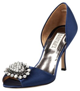 Badgley Mischka Lacie Satin Navy Pumps