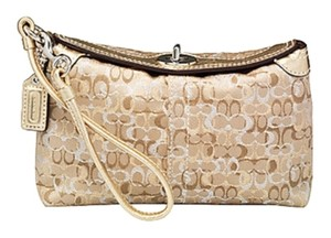 Coach Evening Signature Gold Hardware Wristlet in Gold/Silver