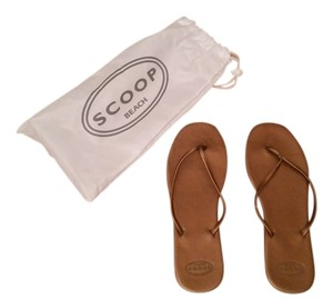 Scoop NYC Flip Flops Thong Bronze Sandals