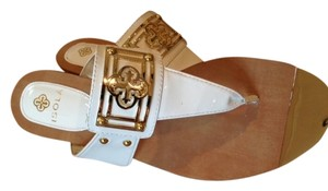 Isola Resort Leather Summer Detail White Patent with Gold Accents Sandals