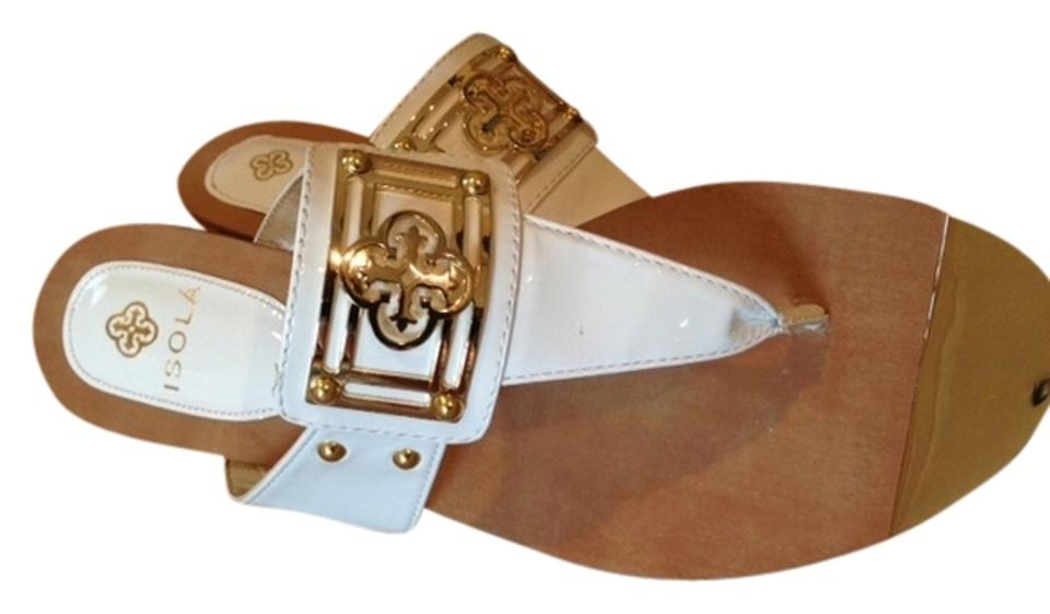 Isola White Gold Patent with Gold White Accents Style # Ccfk12 Sandals 7b56d5