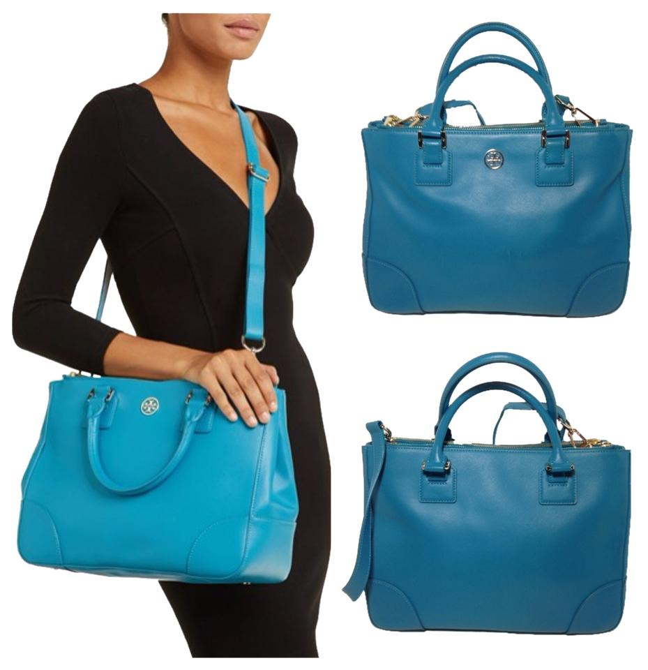 5d690b86cf92 Tory Burch Robinson Double-zip Tote Electric Eel Saffiano Leather ...